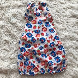 Vintage handmade strawberry romper with buttons
